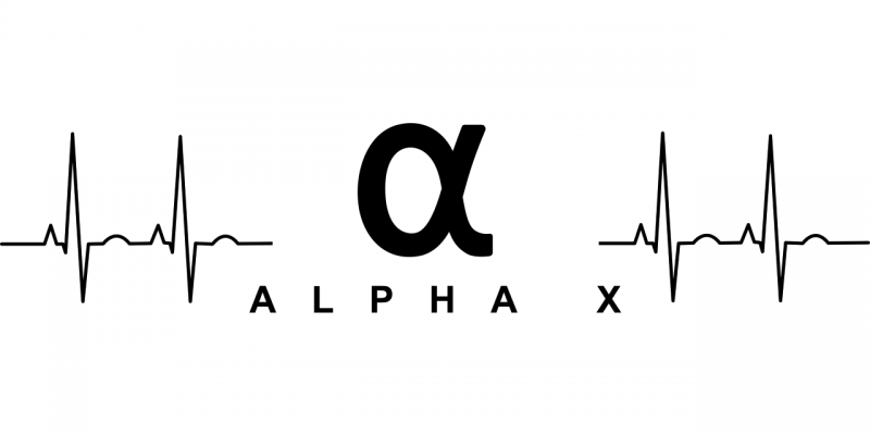 Black logo for the AlphaX range of wireless monitoring systems in the middle of an EKG heartbeat lifeline representing machine health